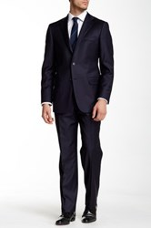 Hickey Freeman Navy Wool Suit Blue