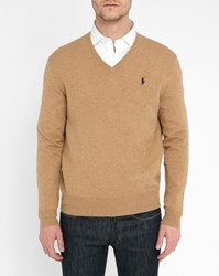 Polo Ralph Lauren Beige Lambswool V Neck Sweater