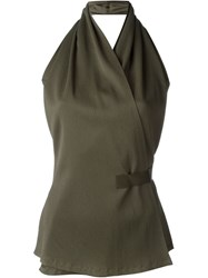 Rick Owens Wrap Style Halter Top Green
