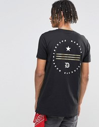 Asos Longline T Shirt With Glitter Flag Chest And Back Print Black