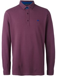 Etro Long Sleeve Polo Shirt Pink And Purple