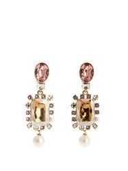 Oscar De La Renta Crystal Embellished Earrings Light Pink
