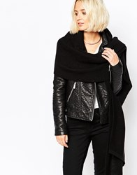 Pieces Ribbed Oversized Blanket Scarf Black