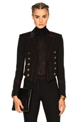 Burberry Prorsum Luggage Stitch Military Jacket In Black