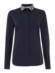 Dickins And Jones Embellished Collar Shirt Navy