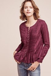 Anthropologie Gelise Button Blouse Plum