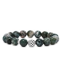 Lagos Sterling Silver Caviar Ball Beaded Moss Agate Bracelet 10Mm Green