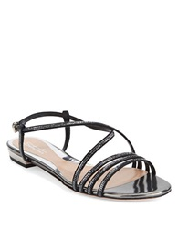Sebastian Hematite And Leather Sandals Black
