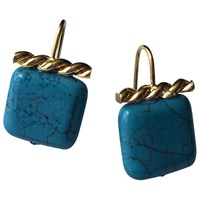 Catherine Canino Jewelry Turquoise And Gold Twist Earrings