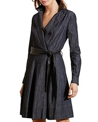 Ralph Lauren Petites Denim Wrap Dress Mineral Blue Black