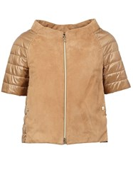 Herno Leather Panel Puffer Jacket Brown