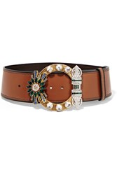 Miu Miu Crystal Embellished Leather Waist Belt Brown