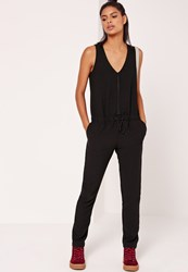 Missguided Sleeveless Zip Through Jumpsuit Black