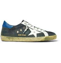 Golden Goose Deluxe Brand Superstar Distressed Leather Trimmed Denim Sneakers Indigo