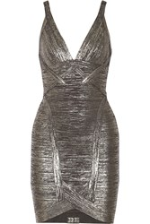 Herve Leger Ari Metallic Bandage Mini Dress