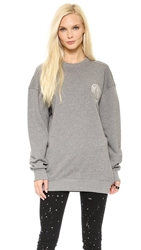 Dkny X Opening Ceremony Long Sleeve Crew Neck Pullover Grey Silver Red Black