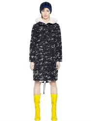 Jil Sander Navy Camo Printed Wool Patches On Nylon Parka