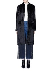 Toga Archives Fringe Hem Moquette Coat Black