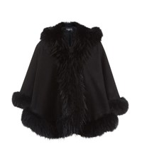 Harrods Of London Raccoon Trim Hooded Cashmere Cape Female Black