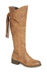 Very Volatile Women's 'Geneva' Fringe Boot Tan Faux Leather