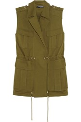 Balmain Cotton Gabardine Vest Army Green