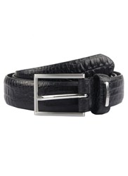 Dents Men S Leather Croc Print Belt Black