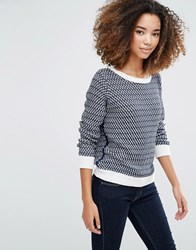 Shae Mix Stitch Knit Jumper White Combo
