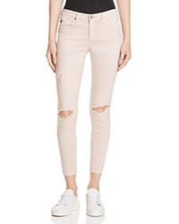 Ag Jeans Ag Super Skinny Ankle Jeans In Dusty Pink Destructed Dusty Pink