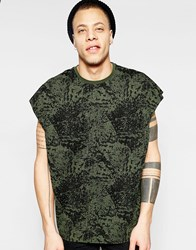Asos Super Oversized T Shirt With Splash Print And Wide Neck Trim In Khaki Thyme