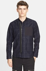 Check Varsity Shirt Jacket Navy Black