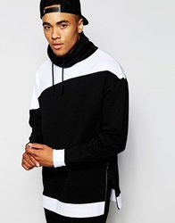Asos Longline Oversized Sweatshirt With Cowl Neck And Zips Black
