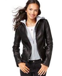 Wildflower Faux Leather Layered Hoodie Jacket