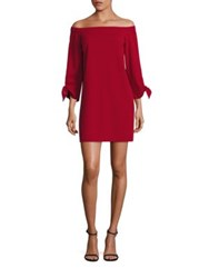 Tibi Crepe Off The Shoulder Dress Crimson Red