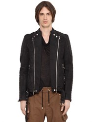 Balmain Coated Cotton Denim Moto Jacket