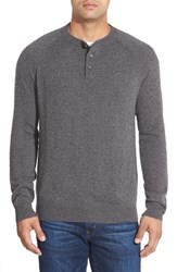 Men's Big And Tall Nordstrom Regular Fit Cashmere Henley Grey Charcoal Heather