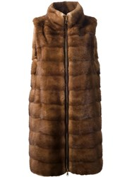Liska Sleeveless Mink Fur Coat Nude And Neutrals