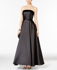 Xscape Evenings Strapless Velvet Trim Ball Gown Black