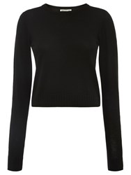 Whistles Cropped Crew Neck Knit Black