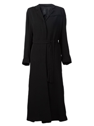Just Female Belted Long Coat Black