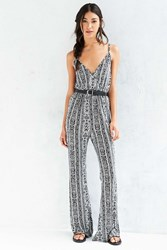 Ecote Surplice Printed Flare Jumpsuit Black And White