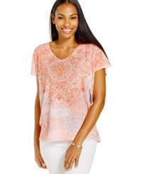 Style And Co. Sport Medallion Print Sublimation Yoga Tee Coral Combo