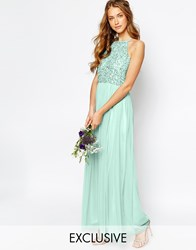 Maya High Neck Maxi Tulle Dress With Tonal Delicate Sequins Green