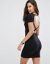 Asos Bodycon Dress With Cross Back Black