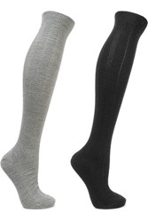 Falke Armour Set Of Two Textured Wool Blend Socks Black