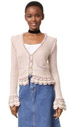 Wgaca Chanel Cardigan Previously Owned Beige Pink