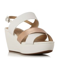 Geox D Thelma Cross Strap Wedge Sandals White