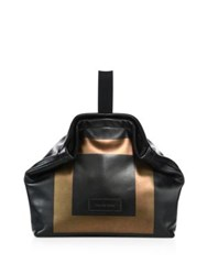 Alexander Mcqueen Medium Square Leather Bowler Bag Black Gold