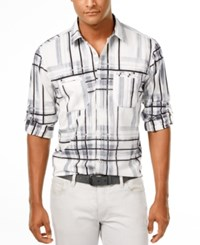 Inc International Concepts Men's Ohio Plaid Long Sleeve Shirt Only At Macy's Deep Black