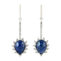 Meghna Jewels Blue Sapphire And Diamond Linear Drop Claw Earrings