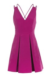 Topshop Strappy Bonded Mini Dress Purple